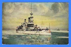 Battleship USS Indiana BB-1 - Unused Advertising Postcard by Enrique Muller The Osborne Co.