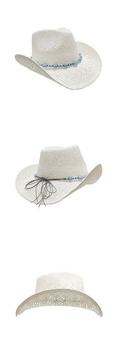 White Straw Cowboy Hat for Women with Beaded Trim and Shapeable Brim bd0b1805a766