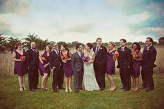 purple and orange wedding party looks
