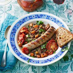 worstjes met linzen Jamie Oliver, Superfoods, Chicken Wings, Sausage, Bbq, Appetizers, Favorite Recipes, Meat, Ethnic Recipes