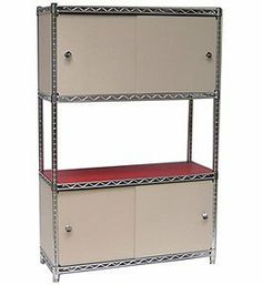 Beige Enclosures and Doors - 48 x 13 x 14 by Chadko. $65.99. Available in an array of sizes and compatible with our InterMetro wire shelving and most other wire shelving storage systems.. Clean and neutral beige finish color.. Professional Wire Shelving Enclosure Kit Features. Made in the USA with a sturdy 1/8 inch PVC material.. Kit includes the front door(s) a pair of side panels a back panel and all the essential hardware for installation.. Maintain a more effici...