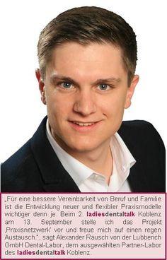 """BA Alexander Rausch referiert beim ladies dental talk in Koblenz zum Projekt """"Praxisnetzwerk""""."""