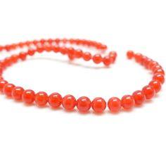 10 perles rondes en agate rouge - 4 mm - .