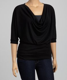 Look at this #zulilyfind! Poliana Plus Black Cowl Neck Top - Plus by Poliana Plus #zulilyfinds