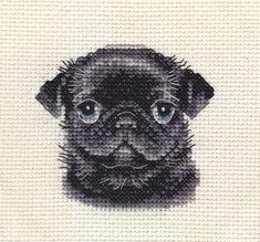 An Original counted cross stitch kit by Fido Stitch Studio. Black Pug portrait. This 'mini' stitch kit could be completed in a few hours. This kit contains everything you need to complete your project. | eBay!
