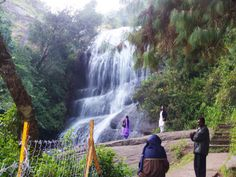 Waterfall in the mountains of Kodaikanal, India. We hiked here and swam in the frigid pool below!