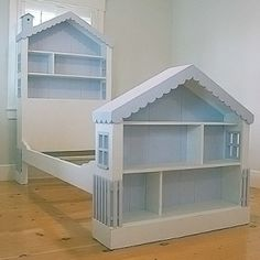 itmom: Stuff We Love: Cottage Dollhouse Bed. Well since Mikey is not a girl, we won't do the doll house bed (but I love it), but can I do something similar w/ a garage and all his cars? or legos? Can I do a bed like his for me? House Frame Bed, Bed Frame, Girls Dollhouse, Dollhouse Dolls, Little Girl Rooms, Kid Beds, House Beds For Kids, Bunk Beds, Play Houses