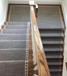 Wonderful Stairway Carpet Runner MNailheads Add An Elegance To This Stair Runner And Edge Via Stairway Carpet, Carpet Stairs, Basement Carpet, Hall Carpet, Basement Stairs, House Stairs, Cottage Staircase, Entryway Stairs, Stairs