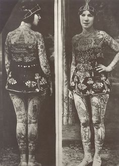 """Lady Viola (originally born as Ethel Martin) Covington, Kentucky, tattooed by Frank Graf (Coney Island) in the She became a tattoo attraction, billed as """"the most beautiful tattooed woman in the world""""; she wasn't only a circus tattooed Tattoo Passion, Historical Tattoos, Maori Tribe, History Tattoos, Maori People, Rome Antique, Art Ancien, Tattoo People, The Secret History"""