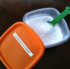 Homemade Dishwasher Detergent… Baking Soda  Borax (all-natural household cleaner, available at many stores in the laundry aisle) Mix together equal parts of each ingredient, store in a labeled container. Use just like a commercial powdered detergent, approximately 2 TBS per load.