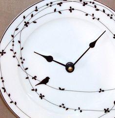8 Inch Wall Clock - Black and White Bird on a Vine Bone China Plate Clock No. 1158