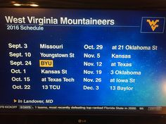 West Virginia University 2016 football schedule #Football #NCAAFootball