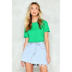 Nasty Gal Basic Principle Tee ($12) ❤ liked on Polyvore featuring tops, t-shirts, green, relax t shirt, rock t shirts, crew t shirt, crew-neck tee and crew neck t shirt