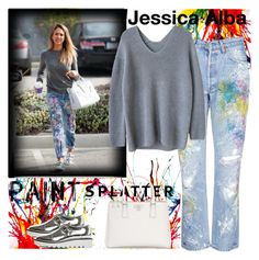 """Paint Splattered:Jessica Alba Style"" by pink1princess ❤ liked on Polyvore featuring Rialto Jean Project, Prada, STELLA McCARTNEY and paintsplatter"