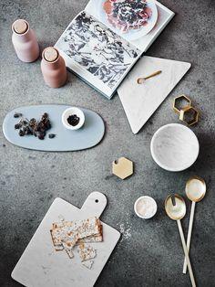 Kitchen tools. White, marble