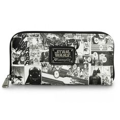 This is a Star Wars Black And White Comic Wallet. It's a really cool and unique Star Wars themed women's wallet. It's made of a durable faux-leather type of material and has Star Wars characters on it