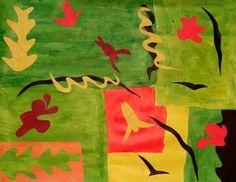 Collage façon Matisse, par Clélia (9 ans), (Matisse cutouts with kids)