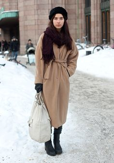 """hel-looks: """" Ines, 18 """"I found my hat in the ground, the coat is from Weekday, the bag from a thrift store in Warsaw and the shoes from the recycling center in Espoo. I don't like too stylish or neat looks. Old clothes are always nice. I strongly..."""