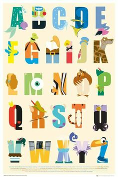 The alphabet letters made out of Disney characters whose names start with them.