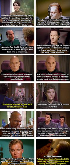 Star Trek + Social Commentary.  Any time someone tells me that Star Trek isn't important as the Dickens, I'll direct them to this :)))) Slavery, exploitation, gender fluidity, sexism, destruction of natural resources, the concept of pacifism as a strength, parallels for bigotry, disability, Spock serving as a metaphor for the often unspoken trials of biracial people, T'Pol suffering metaphors of sexual assault and AIDS, TOS!Trek pretty much resting on the theme of anti-colonialism and…
