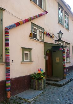 Knitted drainpipe covers, Riga