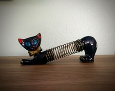 1950s Shafford redware black cat letter holder, pencil holder, red ware office, vintage office, Japanese cat, yellow bowtie by TheCoolCurator on Etsy https://www.etsy.com/listing/398138817/1950s-shafford-redware-black-cat-letter