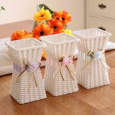 New Arrivals 1pcs 3 Colors Flower tabletop vase Square Rattan Plant Flower Vases Wedding Decoration-in Vases from Home, Kitchen &…
