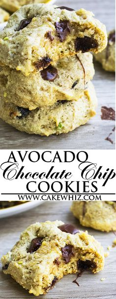 These easy healthy AVOCADO CHOCOLATE CHIP COOKIES have a cake like texture. These avocado chocolate cookies are made from scratch, low fat and made with no butter, no shortening and no oil. Sugar free (Chocolate Muffins No Sugar) Cookie Recipe With Oil, Sugar Free Cookie Recipes, Cookie Recipes From Scratch, Sugar Free Cookies, Healthy Cookie Recipes, Healthy Cookies, Yummy Cookies, Super Cookies, Healthy Sweets