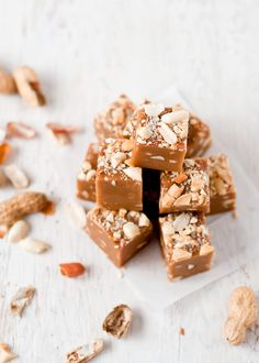 Caramel Peanut Butter Fudge | Cafe Johnsonia      4 oz. (1 stick) unsalted butter     2 cups brown sugar, packed     ½ cup milk     ½ cup corn syrup (or brown rice syrup)     ½ cup smooth peanut butter     1 tsp. vanilla extract     ¼ tsp. sea salt, plus a little more for sprinkling the top     ½ cup chopped peanuts