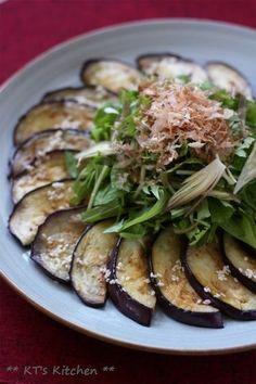 ナスと水菜、茗荷とシソのごまポン酢 - KT's Kitchen&Garden