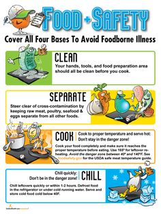 Food Safety Poster: This informative food safety poster covers all four bases to avoid foodborne illness: clean, separate, cook and chill! It is perfect for any foodservice facility, family and consumer science class, or culinary arts classroom. Nutrition Education, Nutrition Classes, Nutrition Month, Child Nutrition, Nutrition Pyramid, Nutrition Poster, Nutrition Activities, Food Nutrition, Nutrition Guide