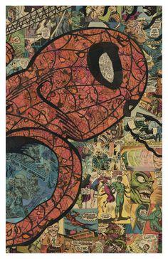 Spiderman 2 impresión 11 x 17 por ComicCollageArt en Etsy