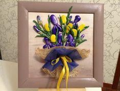 tableau-galets-decoratifs-bouquet-3d-papier-emballage-fleurs