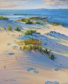 Robyn Collier - View from the Dunes Pastel Landscape, Landscape Art, Landscape Paintings, Seascape Paintings, Watercolor Paintings, Pinturas Color Pastel, Watercolor Water, Sea Art, Pictures To Paint