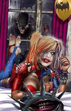 This is Harley Quinn doing her own thing but joker is spying on her creepy Harley Quinn Drawing, Harley Quinn Cosplay, Joker And Harley Quinn, Marvel Dc, Comic Art, Hearly Quinn, Univers Dc, Gotham Girls, Joker Art