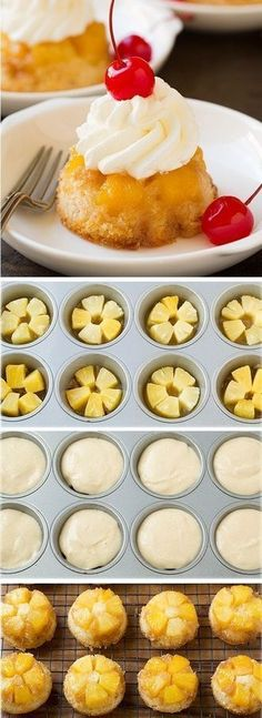 Pineapple Upside Down Cupcakes-just like that classic cake your grandma made but in cupcake form! Pineapple Upside Down Cupcakes-just like that classic cake your grandma made but in cupcake form! Köstliche Desserts, Delicious Desserts, Yummy Food, Desserts On The Grill, Cupcake Recipes, Cupcake Cakes, Mini Pineapple Upside Down Cakes, Pineapple Cupcakes, Pineapple Dessert Recipes