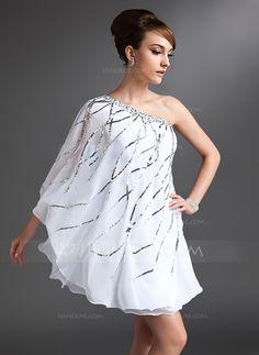 Sheath/Column One-Shoulder Short/Mini Chiffon Cocktail Dress With Beading Sequins (016021153) - JJsHouse