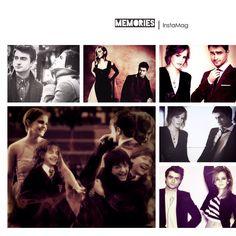 Starring Hermione Granger aka Emma Watson, Ron Weasley aka Rupert Grint and Harry Potter aka Daniel Radcliffe.  Golden trio   HHr forever