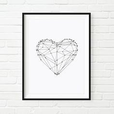Printable Art Inspirational Prints Love Heart Geometric Home Decor Poster Polygon Art Wall Decor Black and White Summer Trends