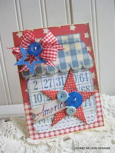 cottage STYLE 4th of july card- large MASON JAR with star- handmade card