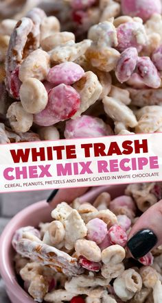 White Trash Chex Mix minutes - no bake!) - The Chunky Chef - Dessert Recipes Baked Chex Mix Recipe, Snack Mix Recipes, Baking Recipes, Dessert Recipes, Snack Mixes, Chex Mix Trash Recipe, Fun Recipes, Dinner Recipes, Easy Sweets