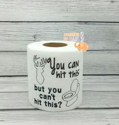 Hunting embroidered toilet paper, gift for him, Fathers Day, gift for dad, funny gag gift, white elephant, bathroom decororation, joke gift by DesignsByRAJA on Etsy