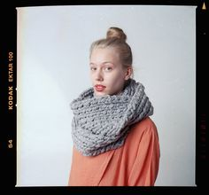 lambton EXTRA-chunky version of merino wool cowl (shown in light grey)
