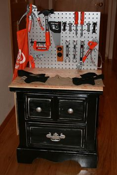 Woodworking For Kids Glimmer And Grit: End Table Transformation = Play Workbench Repurposed Furniture, Kids Furniture, Furniture Design, Diy Childrens Furniture, Cardboard Furniture, Pallet Furniture, Bedroom Furniture, Modern Furniture, Kids Workbench
