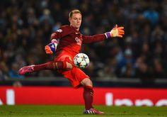 Marc-Andre ter Stegen of Barcelona kicks the ball during the UEFA Champions League Round of 16 match between Manchester City and Barcelona at Etihad Stadium on February 24, 2015 in Manchester, United Kingdom.