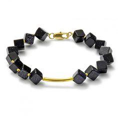 "Bracelet with blue goldstoe ""SPEX"" - Blaufluss Armband"