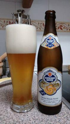 Schneider Weisse Tap 1 Mein Blondes. La cerveza de trigo del Grifo Nº 1 es lo más clásico dentro de las weizenbier. Su color es dorado turbio, con espuma blanca. El olor tiene recuerdos a pan recién hecho, del trigo malteado y a plátano y clavo, por los alcoholes de la fermentación. El sabor es fresco y afrutado, con un ligero amargor y la carbonatación justa, y que acompaña de notas leves de cítricos y lúpulo.