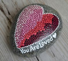 etsy.com/shop/BeachMemoriesByJools  ,   painted rock, painted stones,  heart art, dot painting, pointillism,  wellness  stone, stone art,