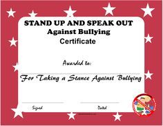 anti bullying certificate for free - Google Search