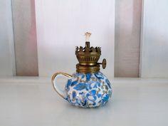 Lefton Blue Paisley Chinz Mini Oil Lamp Lantern  #Lefton